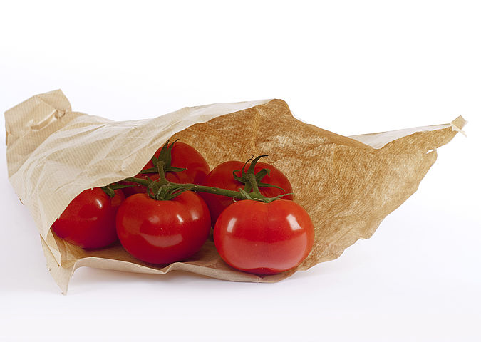 Food contact materials made of paper. Here, a paper bag used for vegetables